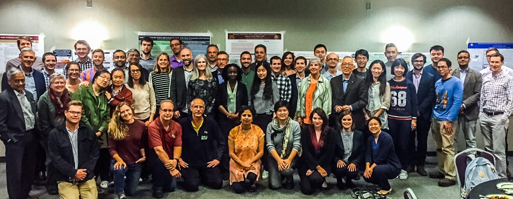 SHC Researchers and External Advisory Committee Members gather for a group photo during the evening poster session