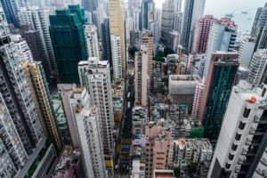 aerial view of Hong Kong apartment block in China