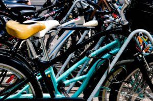 Bicycles locked on a rack